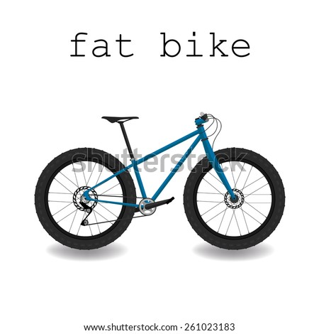 Fat bike. Bicycle with big tyre. Vector illustration. - stock vector