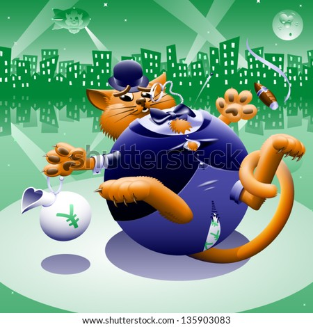 Fat Cat 2: Greenback City - The corporate or Wall Street fat cat. The millionaire, billionaire big money man banker. Symbol of greed & corruption. Vector contains gradient mesh. - stock vector