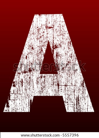 Fat Grunge Alphabet - Letter A - Very detailed grunged letter - stock vector