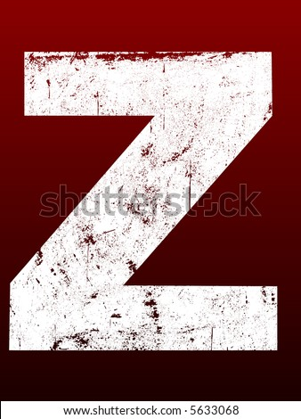 Fat Grunged Letters - Z (Highly detailed grunge letter) - stock vector