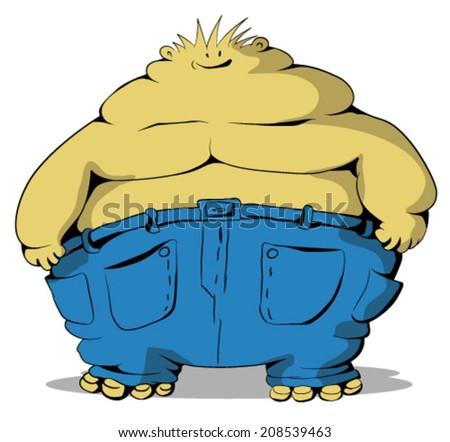 Fat guy cartoon, vector, horizontal, over white,  isolated  - stock vector