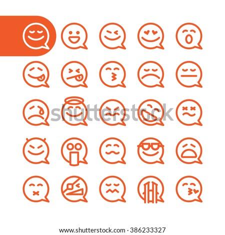 Fat Line emoji. Emoji Icon Set. speech bubble emoji. Bubble emoticons for web and mobile. Modern minimalistic emoji. flat design elements of speech bubble emoji isolated on white. vector emoji smiles - stock vector