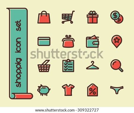 Fat Line Icon set for web and mobile. Modern minimalistic flat design elements of shopping process and retail service - stock vector