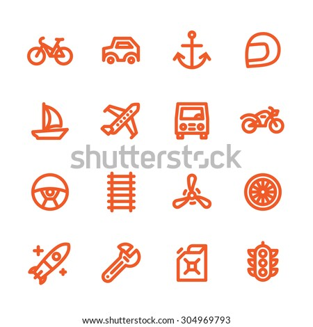 Fat Line Icon set for web and mobile. Modern minimalistic flat design elements of transportation, parts of vehicles and traffic management - stock vector