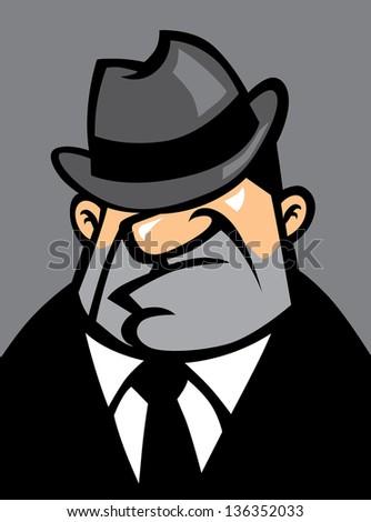 fat mafia portrait - stock vector