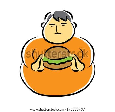 Fat Man Eat Burger - stock vector