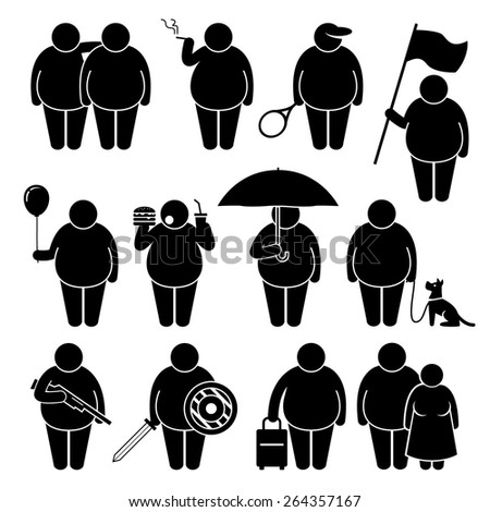 Fat Man Holding Using Various Objects Stick Figure Pictogram Icons - stock vector
