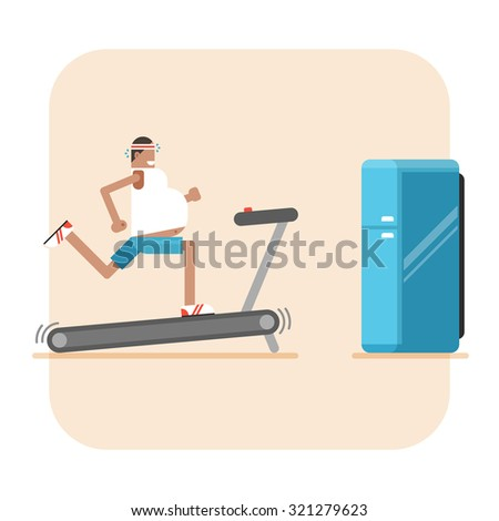 Fat man on treadmill and refrigerator. Conceptual illustration about diet, fitness, weight loss - stock vector