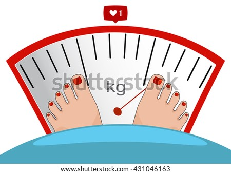 Fat man or woman standing on weight scale with heavy weight, vector. Concept of weight loss, healthy lifestyles, diet, proper nutrition. - stock vector