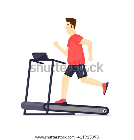 Fat man running on treadmill, sport, fitness, athletics, healthy lifestyle. Cartoon. Vector illustration flat design. - stock vector