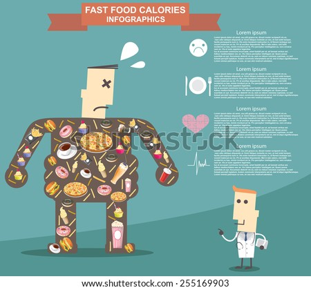 Fat man with doctor, fast food. Infographic vector format eps10 - stock vector
