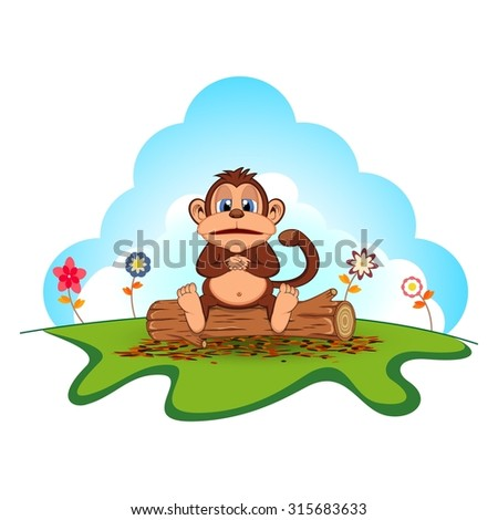 Fat monkey sitting in a wood cartoon in a garden - stock vector