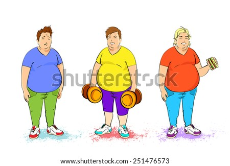 fat overweight three man set with dumbbell and fast food burger isolated over white background vector illustration - stock vector