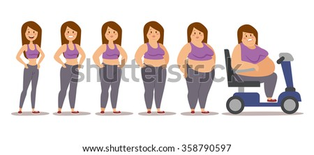 Fat woman cartoon style different stages vector illustration. Fat problems. Health problems. Fast food, strong sport and fat people. Obesity process people illustration - stock vector