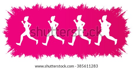 Fat woman turning into Thin designed on grunge frame background graphic vector. - stock vector
