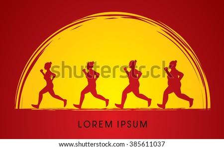 Fat woman turning into Thin designed on moonlight background graphic vector. - stock vector
