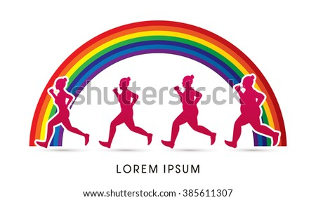 Fat woman turning into Thin designed on rainbows background graphic vector. - stock vector