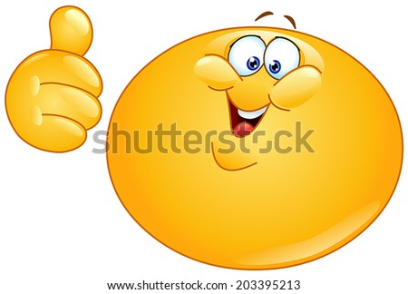 Fat yellow ball showing thumb up - stock vector