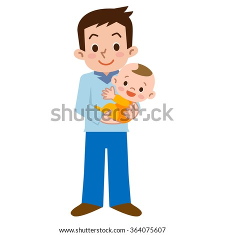 Father and baby - stock vector