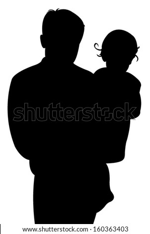 father and baby girl together, silhouette vector  - stock vector