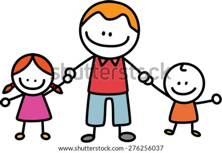 father and child - stock vector