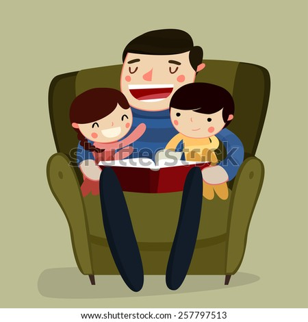 father and kids reading. family reading. cartoon characters. vector illustration - stock vector