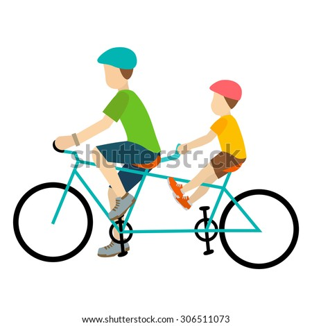 father and son cyclist together vector eps10 isolated on white background. - stock vector