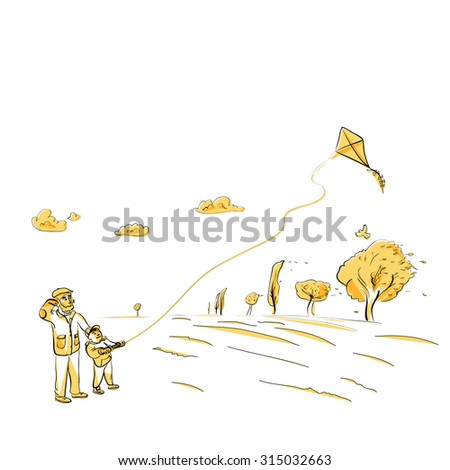 Father and son flying kite, autumn vector illustration - stock vector