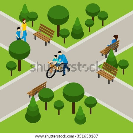 Father and son on bicycle in park isometric vector illustration - stock vector