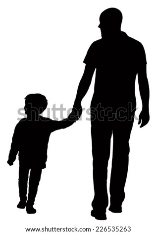 father and son walking, silhouette vector  - stock vector