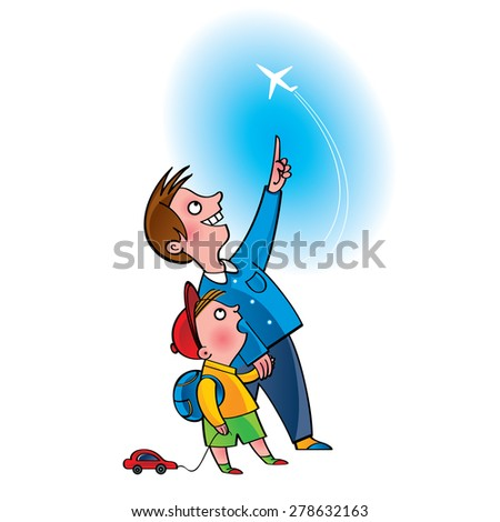 Father and son watching at the plane flight in the sky - stock vector