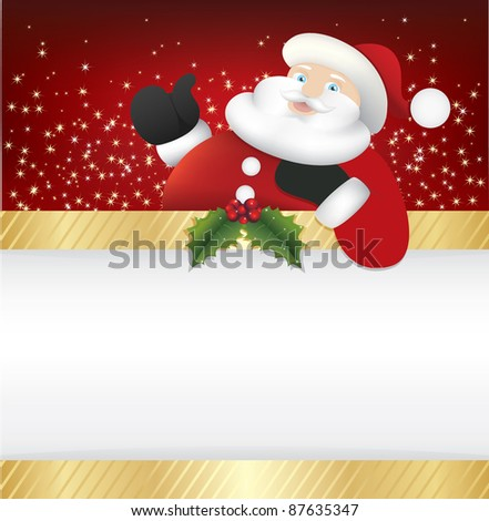 father christmas holding blank banner for your text - stock vector