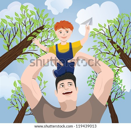 father holding his son over  head - stock vector