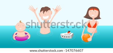 Father, mother and child in sea, cartoon illustration - stock vector