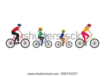 Father, mother and kids biking. Family bicycle tour. Elements for design. Icons. - stock vector