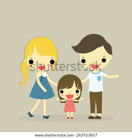 father, mother and their child with happy emotion on brown background - stock vector