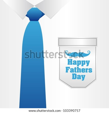 Father's Day card, a formal suit and tie, close up - stock vector