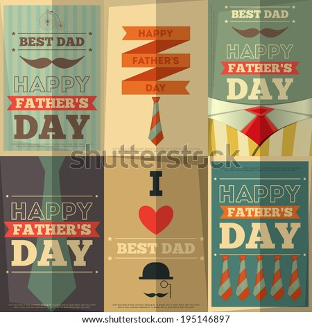 Father's Day Retro Posters Set. Flat Design. Vintage Style. Vector Illustration. - stock vector