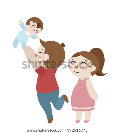 father throw his baby to the sky and his wife stand beside him cartoon vector - stock vector