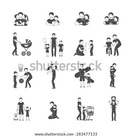 Fatherhood black icon set with happy family holidays symbols isolated vector illustration - stock vector