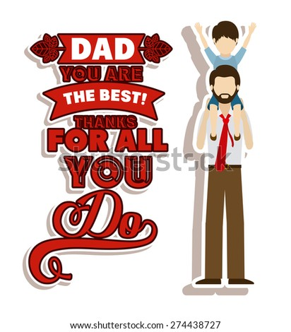 Fathers day design over white background, vector illustration - stock vector