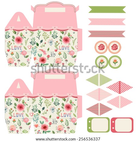 Favor, gift, product box die cut.  Watercolor floral pattern. Empty label. Designer template. - stock vector