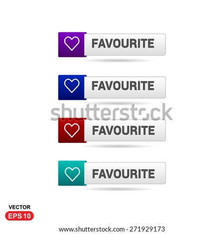 Favorite Icon Button. Abstract beautiful text button with icon. Purple Button, Blue Button, Red Button, Green Button, Turquoise button. web design element. Call to action gray icon button - stock vector