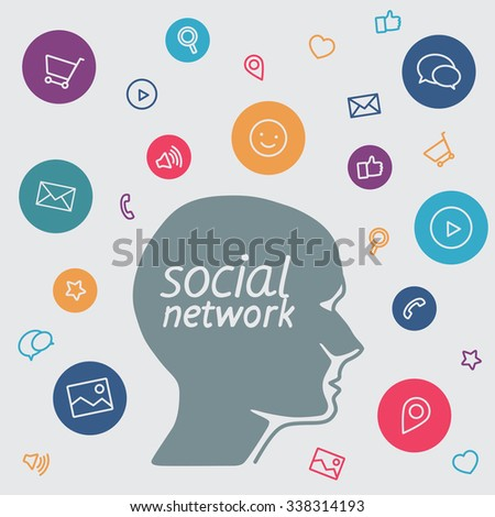Favorite of program marketer social media  in the form icons  - head it specialist in profile - the digital tools employees - stock vector