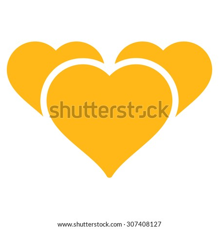 Favourites icon. Vector style is flat symbols, yellow color, rounded angles, white background. - stock vector