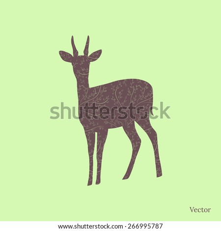 Fawn silhouette with floral fill. Vector background. - stock vector