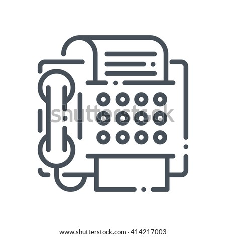 Fax machine icon suitable for info graphics, websites and print media and  interfaces. Hand drawn style, pixel perfect line vector icon. - stock vector