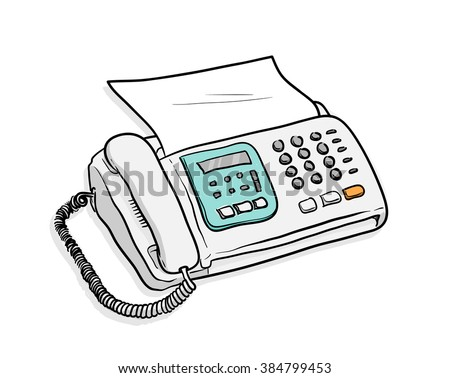 Fax Telephone, a hand drawn vector illustration of a fax telephone machine with a sheet of paper in it. - stock vector