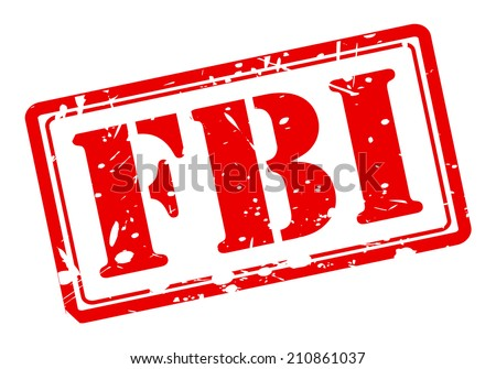 FBI red stamp text on white background - stock vector