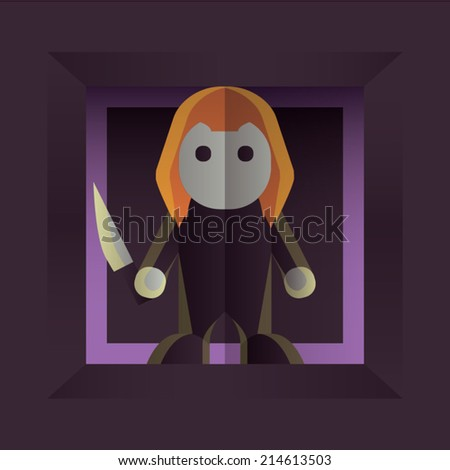 Fearful Halloween Character: Small Killer - stock vector